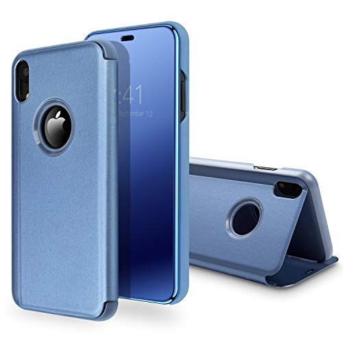 iPhone Xr Case,SQMCase Translucent View Window Mirror Makeup Electroplate Plating Stand Full Body Protective Flip Folio Cover for iPhone Xr (6.1