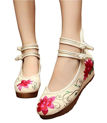Zapatos se para retros 2 las casuales mujer zapatos Nuevos bordados gruesos de retros oras twXAPUA