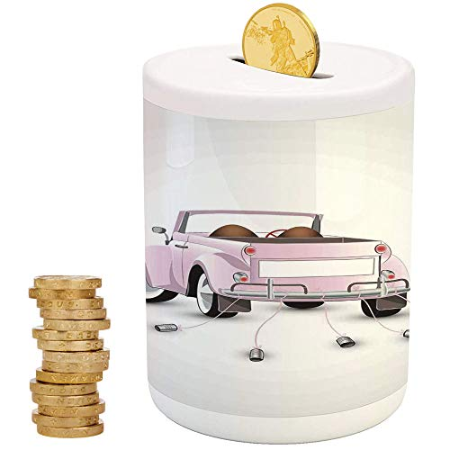 Cars,Piggy Bank Coin Bank Money Bank,Printed Ceramic Coin Bank Money Box for Cash Saving,Just Married Themed Open Roof Top Car Love for Bride and Groom Picture Wedding Print ()