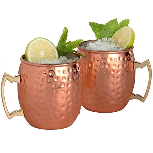 - Best Quality - Mugs - 4pcs Moscow Mule Mug Stainless Steel Beer Whisky Cup Hammered Copper Plated Bar Drinkware 530ml 18Ounces - by Tini - 1 PCs