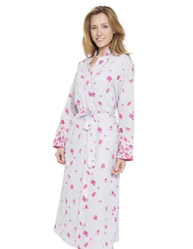 Cyberjammies 1302 Women's Nora Rose Ivy Grey Floral Print Dressing Gown Loungewear Bath Robe Robe