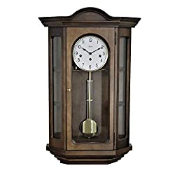 Qwirly Store: Osterley #70305030341 Mechanical German Regulator Curio Wall Clock - Walnut German Chiming 8 Day Movement Clock with Pendulum