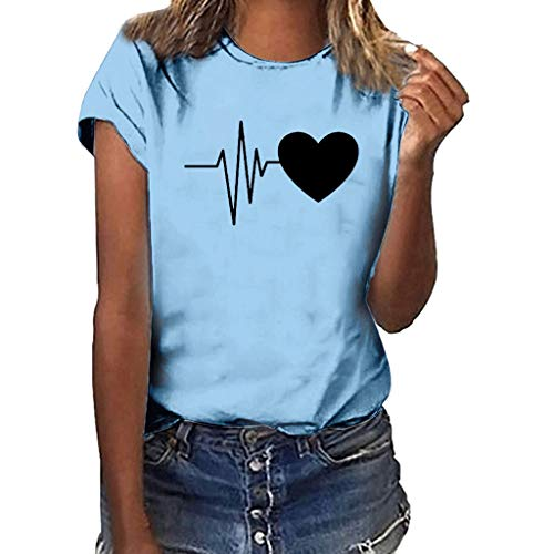 GHrcvdhw Women Plus Size Heart-Shaped Electrocardiogram Print Shirt Solid Multicolor Short Sleeve Girl T Shirt ()