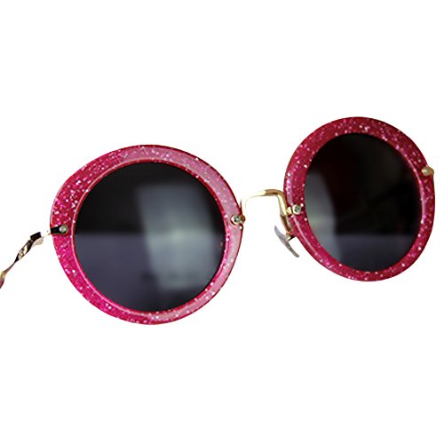 Flowertree Unisex S8018 Sparkly Glitter Plastic Metal Frame Round 58mm Sunglasses - Sunglasses Pink Sparkly