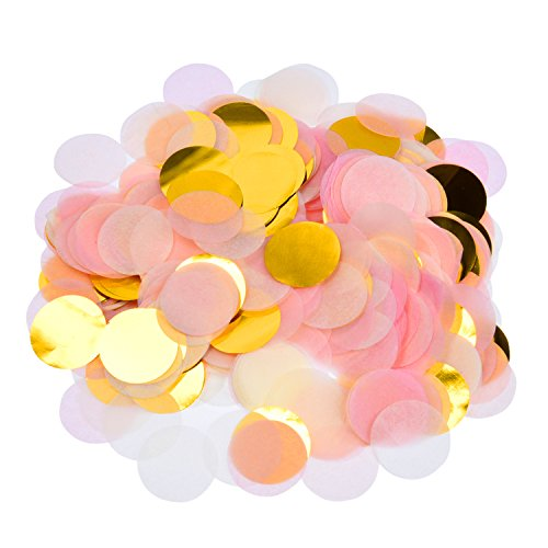 eBoot 5000 Pieces Paper Confetti 1 Inch Round Tissue Paper Table Confetti Dots for Wedding Party Decorations, Mixed (Gold Confetti Dots)