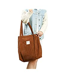 Cloele Corduroy Tote Bag for Women Adults Kids Washable, Reusable Carry Bag with Inner Pocket for Mother Teacher School Work Beach Lunch Travel and Shopping(Brown)