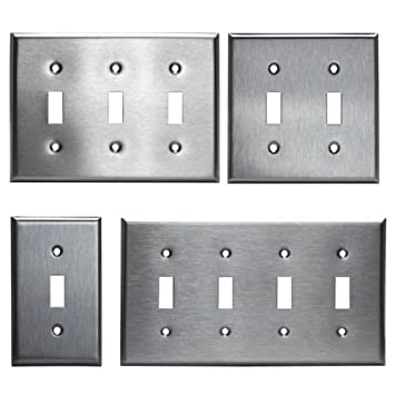 Brushed Stainless Steel Toggle Switch Outlet Cover Wall Plates 1 2 3