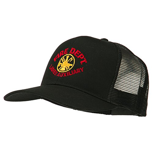 E4hats Fire Dept Ladies Auxiliary Embroidered Mesh Cap - Black OSFM (Fire Embroidery Dept)