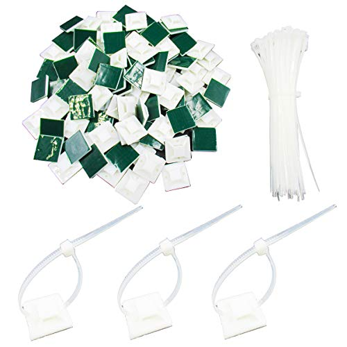 - 100 Pack Self Adhesive Cable Tie Mounts 1