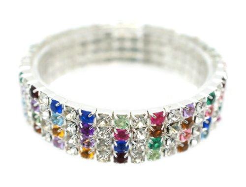 [Petite Classic Silver 4 Row Multi Colorful Rhinestone Stretch Tennis Cuff Bracelet] (Las Vegas Showgirl Costume)