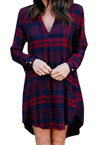 Confortables Femmes À Carreaux Couleur Sort Col V Machaon Vogue Mi Robe Rouge