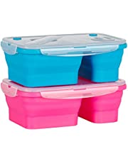 Flat Stacks Collapsible Silicone Lunchboxes | Space Saving | BPA Free | Air-tight | Leak proof | Microwave, Fridge, Freezer & Dishwasher Safe | Multicolour 2 Pack - LunchBoxes | The Original Flat Stacks Food Boxes