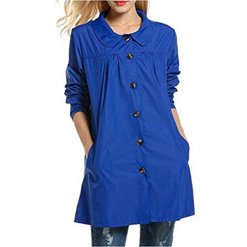 Escudo, abrigo,Internet Las señoras de manga larga impermeables impermeables al aire libre con capucha impermeable chaqueta abrigo Azul