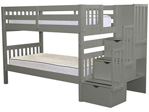 Bedz King Stairway Bunk Beds Twin over Twin with 3 Drawers in the Steps, Gray