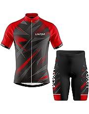 قميص رجالي لركوب الدراجات جيرسي قصير الأكمام مسامي وشورت مبطن MTB ملابس الدراجة