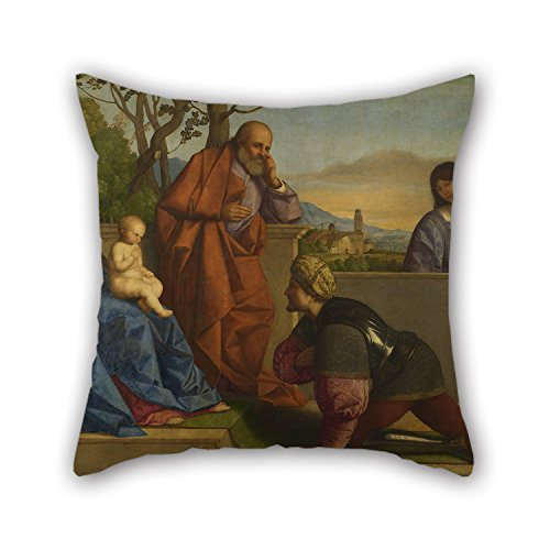 Oil Painting Vincenzo Catena - A Warrior Adoring The Infant Christ And The Virgin Throw Pillow Case Best For Car Seat Lounge Festival Son Christmas Office 16 X 16 Inches / 40 By 40 Cm(both Sides)