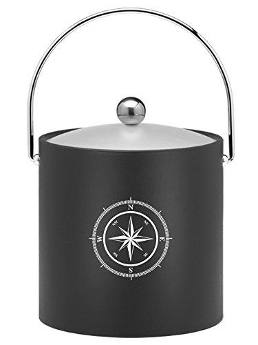 Black 3 Qt Ice Bucket (Kraftware Kasualware Collection Compass Point Ice Bucket, Black - 3 Quart)