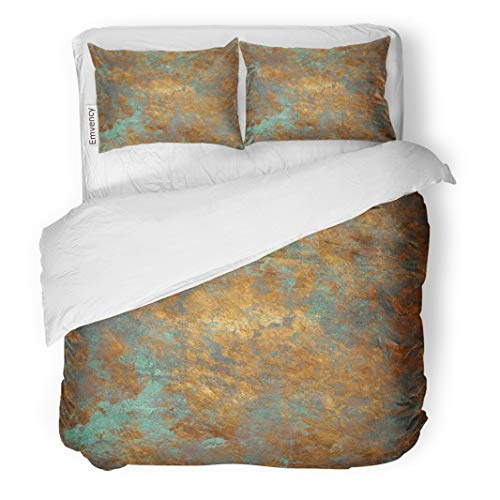Semtomn Decor Duvet Cover Set King Size Orange Copper Vintage Bronze Rust Metal Patina Wall Old 3 Piece Brushed Microfiber Fabric Print Bedding Set Cover