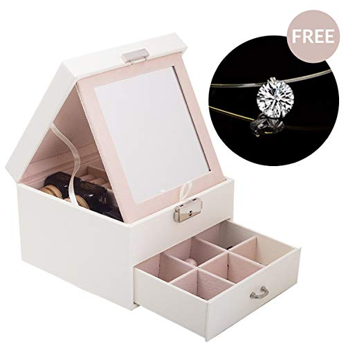 Boonix Jewelry Box 2 Layers Holder for Woman, Teen Girls, Women, Accessory Holder Necklace Bracelet Earrings and Ring Organizer Storage Case [White] 2 White Leather Earring