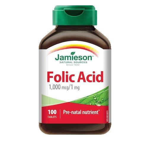 Folic Acid 1 mg-100 tablets Brand: Jamieson Laboratories