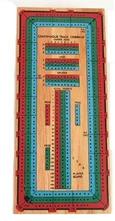 Continuous Multi-Color Triple Track Wood Cribbage Board