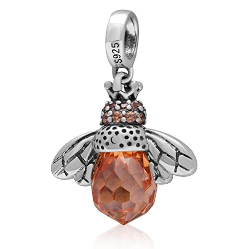 Dangling Queen Bee Charm with Faceted Topaz Stone 925 Sterling Silver Beads Fit European Bracelet or Necklace (Honey Sterling 925 Silver)