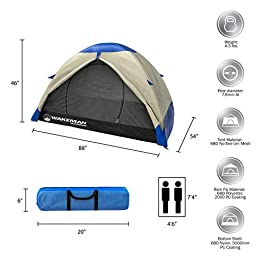 2-Person Backpacking Tent- Waterproof Floor & Rain Fly, Taped Seams & Carry Bag- Lightweight for Backcountry Camping & Hiking by Wakeman Outdoors