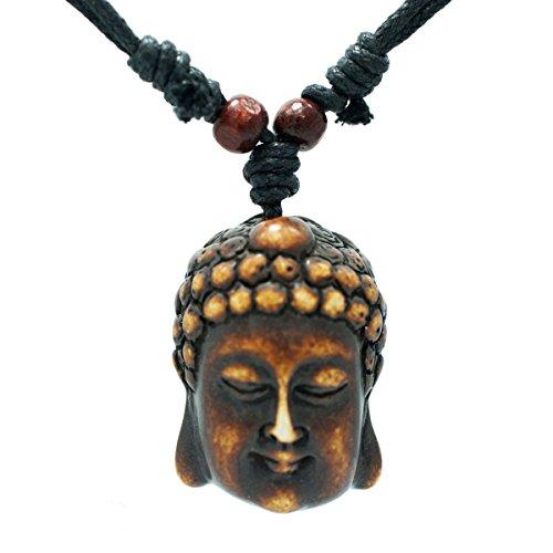 Exoticdream Buddha Face Pendant Necklace Adjustable Religious Tibetan Buddhist Brown ()