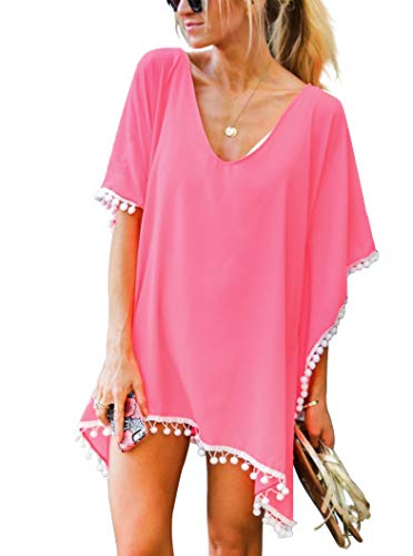 - Women's Chiffon Pom Pom Kaftan Swimwear Bathing Suit Beach Cover up Free Size Coral Pink