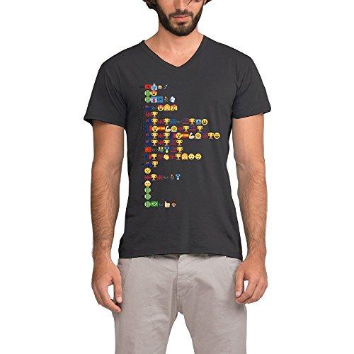 Roger Federer Life In Emoji Short Sleeve Costume T-Shirt Medium Black For Men (Tennis Player Costumes)