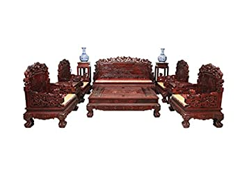 Rosewood Living Room Set Mahogany Antique Carving Sofa Coffee Table  Furniture (6 Pieces)