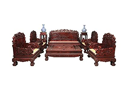 Rosewood Living Room Set Mahogany Antique Carving Sofa Coffee Table Furniture (6 Pieces)  sc 1 st  Amazon.com & Amazon.com: Rosewood Living Room Set Mahogany Antique Carving Sofa ...