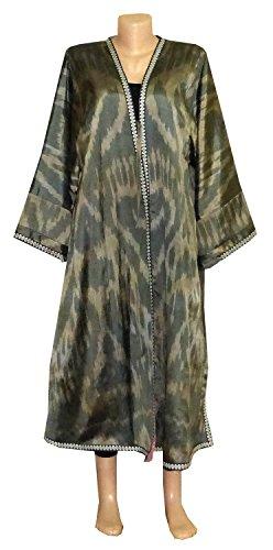 NATURAL COLORED main uzbekistan unisex wear beautiful vintage uzbek hand loomed natural silk ikat robe chapan b1171 by East treasures