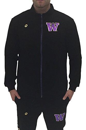 Twin Vision Activewear Washington Huskies Mens Metallic Lightweight Full Zip Up Jacket Black