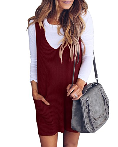 Saodimallsu Womens Racerback Tank Sweater Dresses Fall Ribbed Knit Loose V Neck Dress Pockets Burgundy