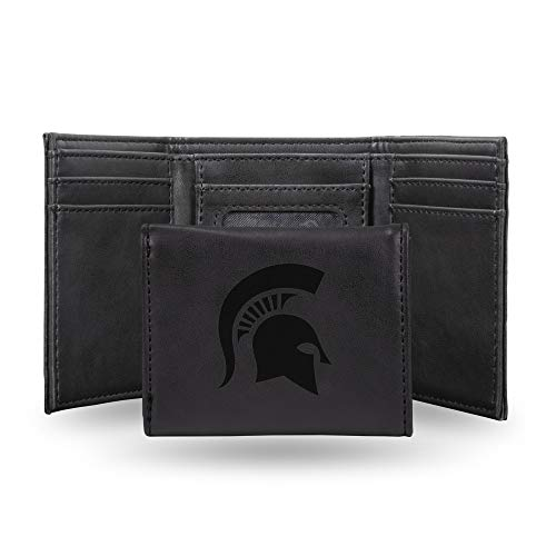 Rico Industries NCAA Michigan State Spartans Laser Engraved Tri-Fold Wallet, Black
