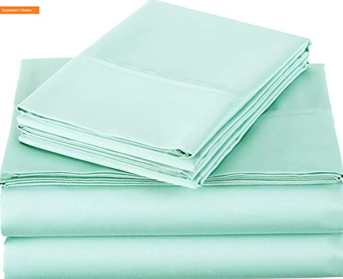 Mikash New Soft 400 Thread Count Sheet Set, 100% Cotton, Sateen Finish - Queen, Seafoam Green | Style 84597928