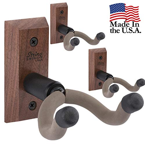 - String Swing 3 pack CC01K-BW Hardwood Home and Studio Guitar Keeper - Black Walnut Acoustic Electric Guitar Hanger
