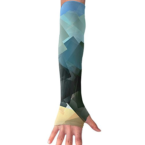 HBSUN FL Unisex Abstract Chaos Colorful Squares Anti-UV Cuff Sunscreen Glove Outdoor Sport Riding Bicycles Half Refers Arm Sleeves by HBSUN FL