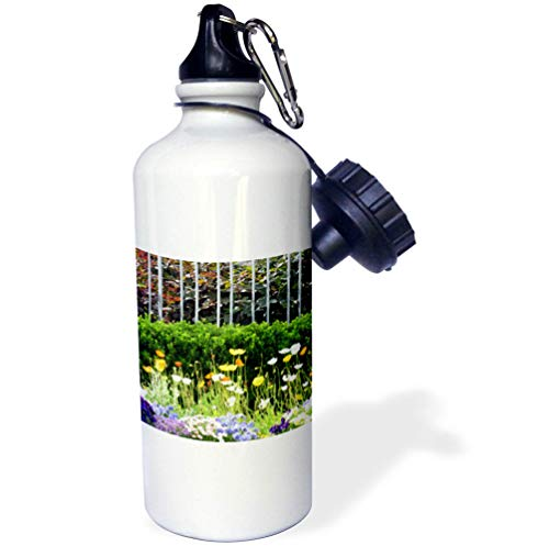 3dRose Jos Fauxtographee- Springtime Garden - A Garden with Flowering Bulbs Near a Fence with Hedges - Flip Straw 21oz Water Bottle (wb_319600_2)