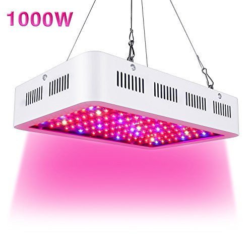 Led Grow Light 1000W, Full Spectrum Grow Lights for Indoor Plants Double Chips Growing Lamps with UV & IR with Protective Sunglasses for Greenhouse Hydroponic Veg and Flower by Wisful