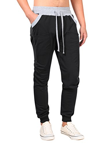 Sweatpants Cotton Blend (Mens Lightweight Track Pants Drawstring Close Bottom Skinny Joggers Sweatpants (XL Black))