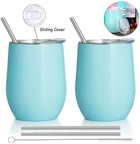 Homost Stemless Wine Tumbler with Lid, Stainless Steel Double Wall Vacuum Insulated Wine Glass Tumbler, 12 oz Travel Tumbler Cup With Metal Straws