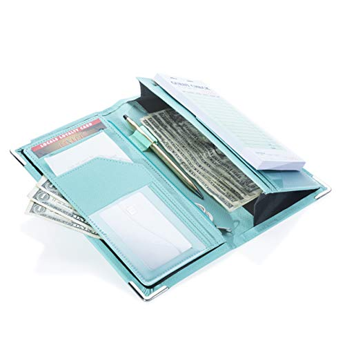 (Sonic Server 5x9 11-Pocket Server Book Organizer with Double Magnetic Pockets, Zipper Pouch & Pen Holder for Waitress Waiter Waitstaff | Cross-Textured Turquoise | Fits Apron Holds Guest)