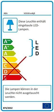 acero inoxidable L/ámpara LED de pared Ikea 403.597.61 LEDSJ/Ö