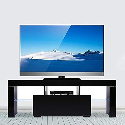 Henf TV Centro de Entretenimiento, Mueble de TV, Mueble de Vino, Mueble de TV con luz LED, Estante para Libros para salón, Dormitorio, Color Negro: Amazon.es: Juguetes y juegos
