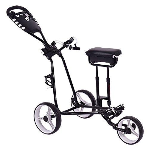 TANGKULA Golf Push Pull Cart w/ 3 Wheels Golf Trolley Stool Scoreboard Swivel