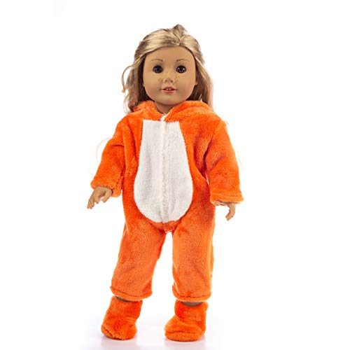 (SMALLE ◕‿◕ Girl Toy-Cute Animal Jumpsuit Clothes Coat Girl Toy for 18 Inch Doll Accessory Toy-Children's Memory Toy Orange)