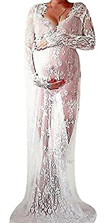 US&R, Women's Long Sleeve See Through Lace Deep Wavy Neck Maternity Maxi Dress, White 12 ,Manufacturer(XXXL)