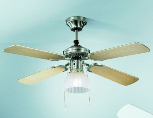 Plafoniere Con Pale : Ventilatore da soffitto con luce in metallo colore cromo